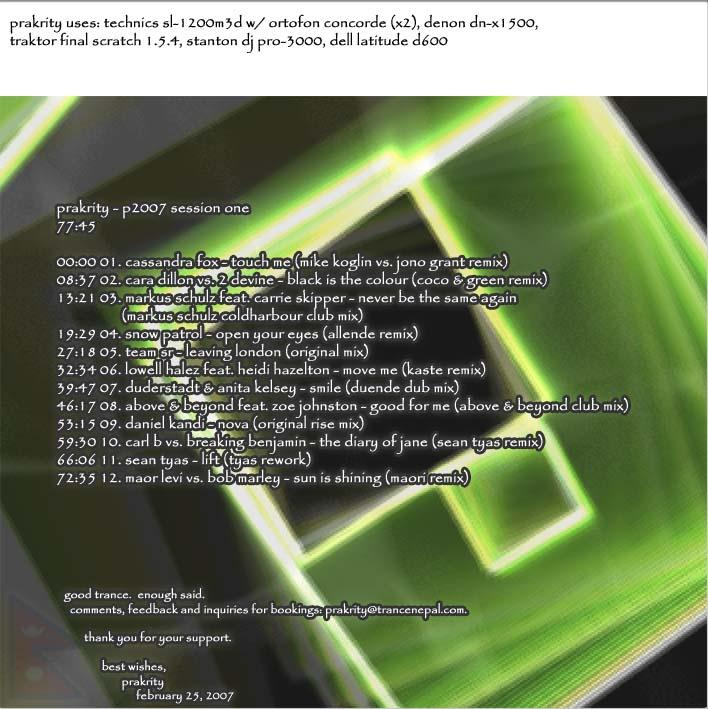 prakrity - p2007 session one -- cd cover - flap